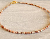 Mixed metal anklet in bronze, copper, gold and silver beads shiny metallic Holiday party