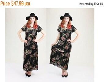 SUMMER SALE 35% OFF 1990s Sheer Burnout Crushed Velvet Floral Grunge Witchy Maxi Dress