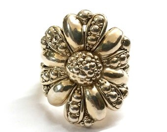 Large Sterling Silver Flower Ring Artisian