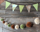 Earthy green and brown bunting and pom pom garland set, photo prop, cake smash prop, nursery bedroom decor