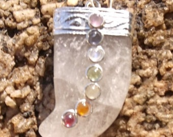 """Crystal claw with 7 Chakra stones pendant 20"""" chain necklace Master Healer  Energy"""