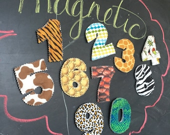 Magnetic/Plush ANIMAL Print Set of Plush Numbers for Learning and Sensory Play - Made To Order