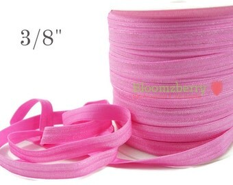 """3/8"""" Fold Over Elastic- Geranium Pink Color- Pink Fold Over Elastic -Stretchy Satin Elastic - Pink Elastic -Hair Accessories  Supplies"""