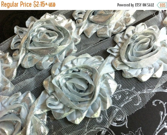 "ON SALE 10% OFF 2.5"" Shabby Rose Trim-  Shiny/Metallic Silver Color- Chiffon Trim - Shabby Trim - Hair Accessories Supplies"