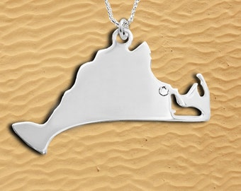Sterling Silver Marthas  Vineyard charm on chain