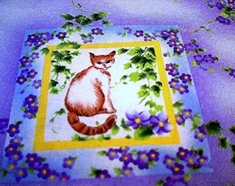 Cats Violets Butterfly Birds Pansy Vines in  Lavender ~  Cat Fabric Retired Out of Print in 2000 FQ England Makower