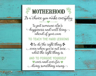 Mother's Day gift, New Mom gift, New Mother gift, Mother's Day gift for wife, Motherhood print, Motherhood Wall Decor, gift for daughter