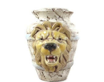 READY to SHIP Lion Glazed Vase,  Pot or Planter- indoor, outdoor, lawn or garden 8.5 inches high