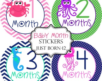 Girls Ocean Sea Creatures, Monthly Baby Stickers, Bonus Just Born Sticker Included, Milestone Stickers