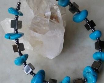 Hematite & Turquoise Bracelet