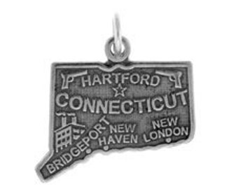Sterling Silver 20x15mm Connecticut State Charm (sku 2218 - CHSS-ST-CT)