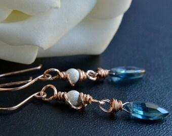 London Blue Topaz Earrings, Rose Gold Jewelry, Sterling Silver, Mixed Metal, Blue Topaz, Handmade, Blue Marquise, Birthstone Earrings
