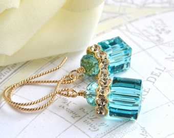 Turquoise Crystal Earrings, 14K Gold Filled, Swarovski Jewelry, Blue Crystal Cube, Handmade