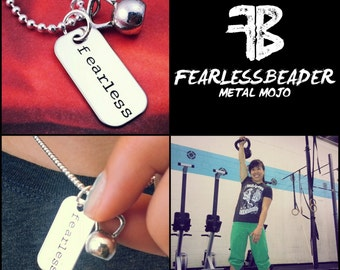 Fearless Fitness Necklace, Kettlebell Necklace, Gym Jewelry, Fearless Necklace, Workout Motivation, Inspiring Jewelry, Fearless Jewelry