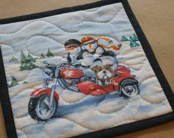 Motorcycle Snowman Mug Rug, Snack Mat, Fabric Coaster, Pot Holder, Trivet, Secret Santa, Gifts Under 10, Biker Couple, Side Car Bulldog