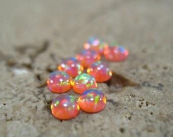 MMS07 Bright Peach Opal Cabochon 3mm Round 3pcs - Opal Cabochon, 3mm Cabochon, Peach Opal Cabochon, Earring Cabochons, Nose Ring Cabochon