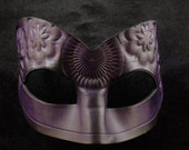 Hand Molded Floral Embossed Purple and Black Masquerade Mask