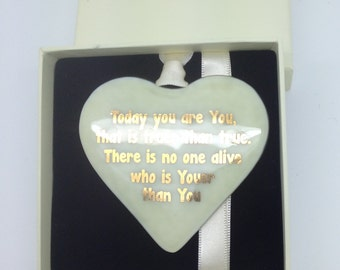 "Fused Glass Dr Suess 22 carat Gold Text ""Today you are You"" Fused Glass Heart"