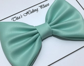 Mint Satin Fabric Big Hair Bow, Girls Hairbow, Extra Large Hair Bow, Retro Hair Bow, Kawaii Bow, Attachable Bow Clip