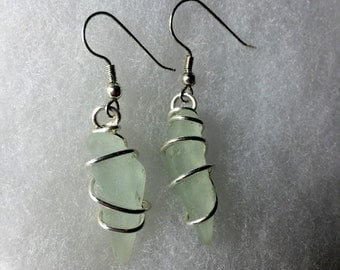 Handmade Frosted Sea Glass Earrings