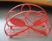 Retro Red Metal Kitchen Napkin Holder With Fork & Spoon Design