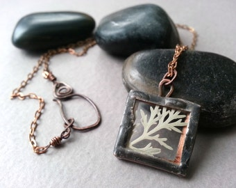 Soldered Glass Fern Necklace, Gray Grey Green Fern, Nature Inspired, Organic Jewelry, Vintage Copper Chain, Handsoldered Pendant, Lead Free