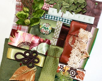 Earth Tones Inspiration Kit*Vintage Lace, Ribbons and Trims*Natures Green and Brown Mosaic