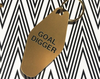 Goal Digger Keychain Charm Accessory | Vintage Hotel Key Chain Purse Charm Gold Digger Flawless Slay All Day Planner Accessories