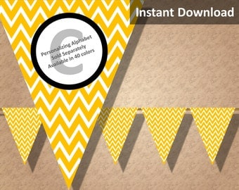 Gold Yellow Chevron Bunting Pennant Banner Instant Download, Party Decorations