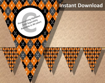 Orange Argyle Halloween Bunting Pennant Banner Instant Download, Party Decorations