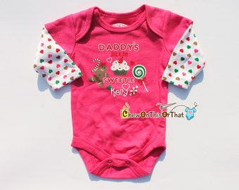 Daddy's Little Sweetie Personalized Christmas Statement Onesie - Baby Girl First Christmas Pink Long Sleeve Bodysuit, Top, Shirt, Photo Prop