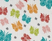 CLEARANCE- BY the YARD- Flutter Multi- Butterfly- Riley Blake- Double Gauze