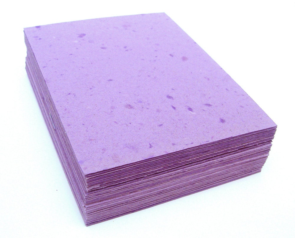 purple handmade paper cardstock cut edges recycled 10 small