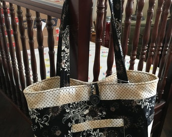 Black Cream Designer Tote
