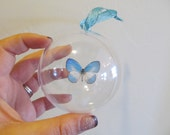 Real Blue White Butterfly Christmas Ornament Ball Globe Round Gift