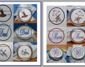 Jar Toppers Mom and Dad Set  Digitized Machine Embroidery Mothers Day Fathers Day