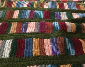 Hand made Lap Throw Amish Look Pieced Multi Color