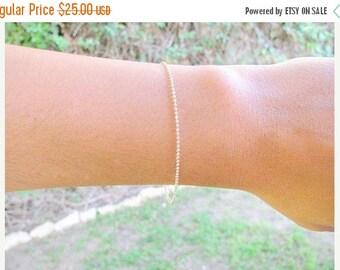 SALE - Thin Beaded silver bracelet, Satellite chain bracelet - Tiny bead bracelet - Dot bracelet -Beaded Chain bracelet - Layered bracelet