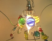 Children COLOR  Happy Pendant light, hanging lamp, E14 fitting, handmade,  glass, wire, transparent, LED/Halogen