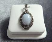 Sterling Silver Marcasite Blue Lace Agate Pendant P162