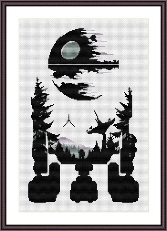 Star Wars Cross Stitch PDF pattern R2D2 - Death Star - Silhouette