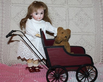 Burgundy Buggy for Small Dolls Prop-sized Display