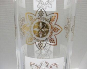 Vintage Glass - Heavy Hi Ball Tumblers Gold and White Atomic Star Medallion Beverage Glasses - Set of 7