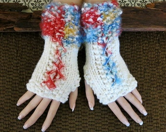 Knitted Fingerless Gloves, Bohemian Wool Corset Arm Warmers, Gothic Burlesque Chunky Wrist Gloves Womens Birthday Christmas Gift