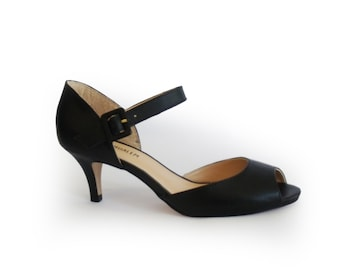 Women's shoes sale, Peep toe shoes, Black pumps, Black peep toe heels, Summer heels, Open toe heel, Leather shoes