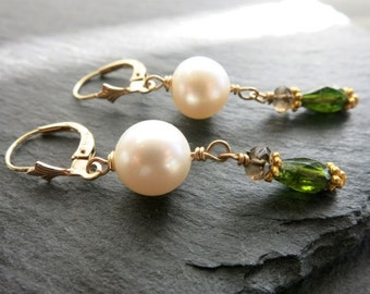 White Pearl earrings solid gold, 14 k  gold pearl with tourmaline earring, dangle drop earring, wedding gift, mothers day gift,fine jewelry
