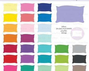 Pillow Icon Digital Clipart in Rainbow Colors - Instant download PNG files - PLUS white icon