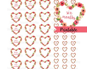 Printable Wedding Countdown Watercolor Heart - Instant download PNG and PDF files