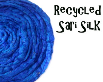 Recycled Sari Silk fibre - Blue - 50g - 1.75oz - Spinning - Add ins