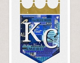 Kansas City Royals Art Print - Collage Illustration Art Print - KC ROYALS